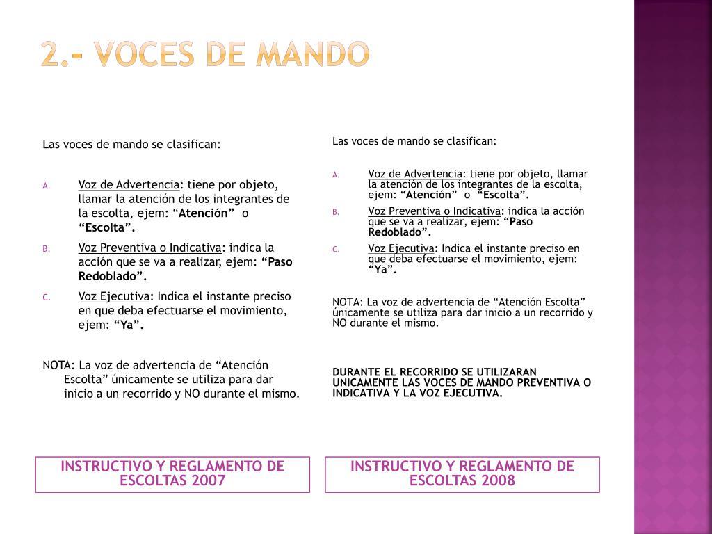 2.- VOCES DE MANDO