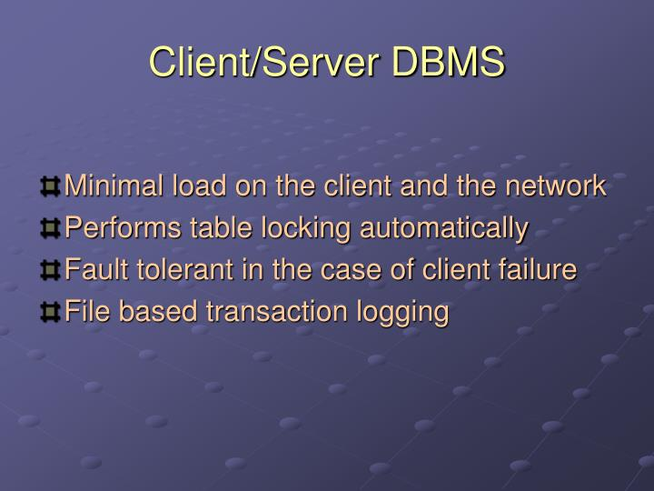Client/Server DBMS