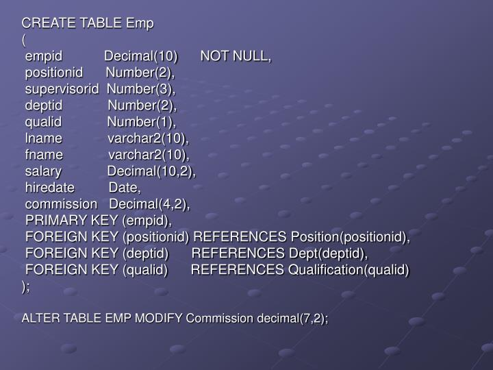 CREATE TABLE Emp