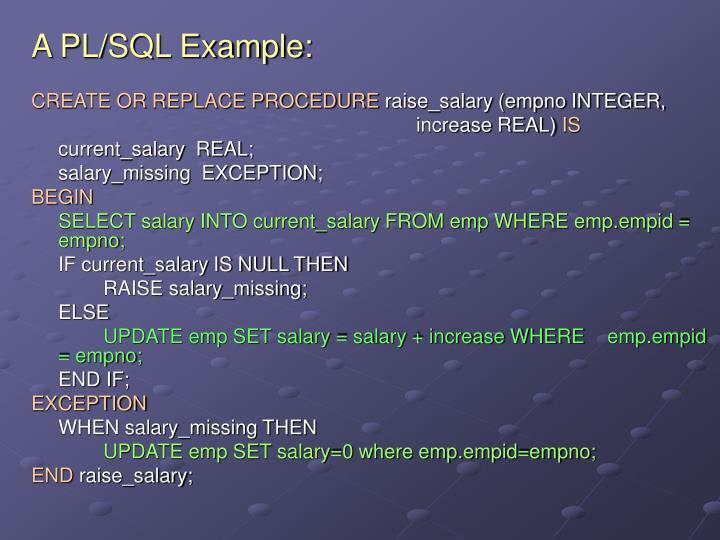 A PL/SQL Example: