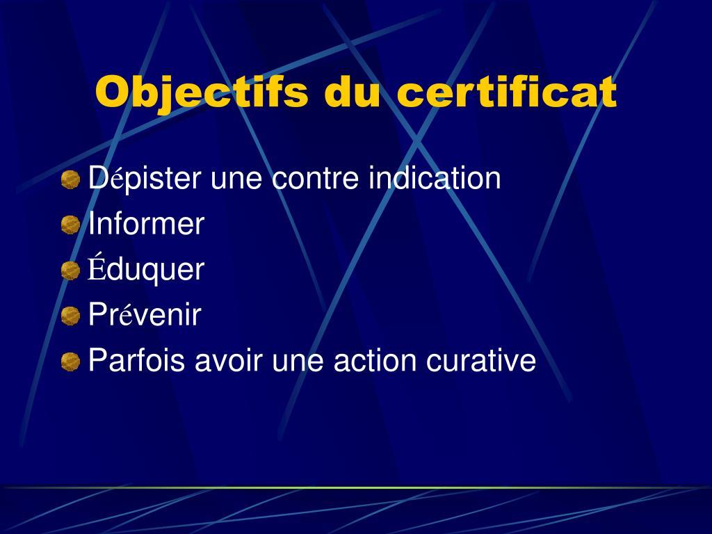 Objectifs du certificat