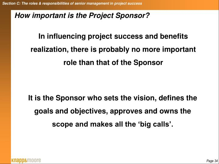 Section C: The roles & responsibilities of senior management in project success