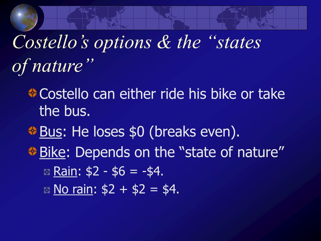 "Costello's options & the ""states of nature"""