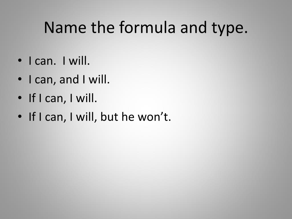 Name the formula and type.