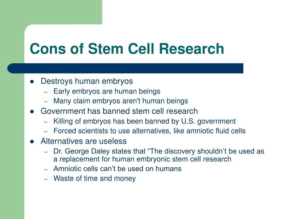 stem cell research for research paper Pros and cons of stem cell research  in november 1998 the first published research paper reported that stem cells could be taken from human embryos a.
