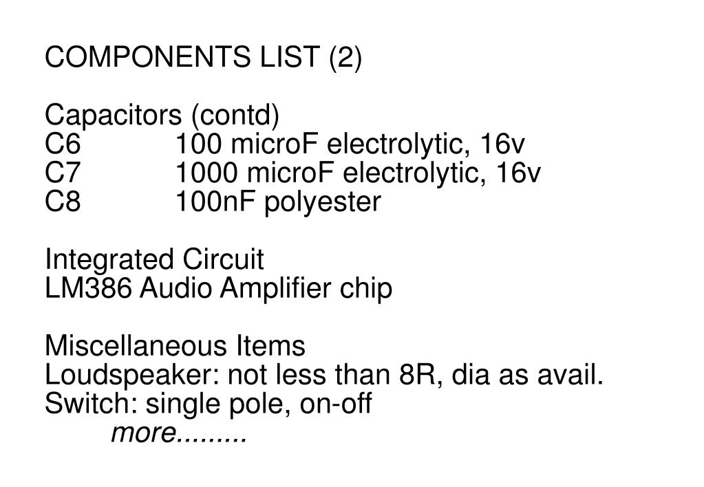 COMPONENTS LIST (2)