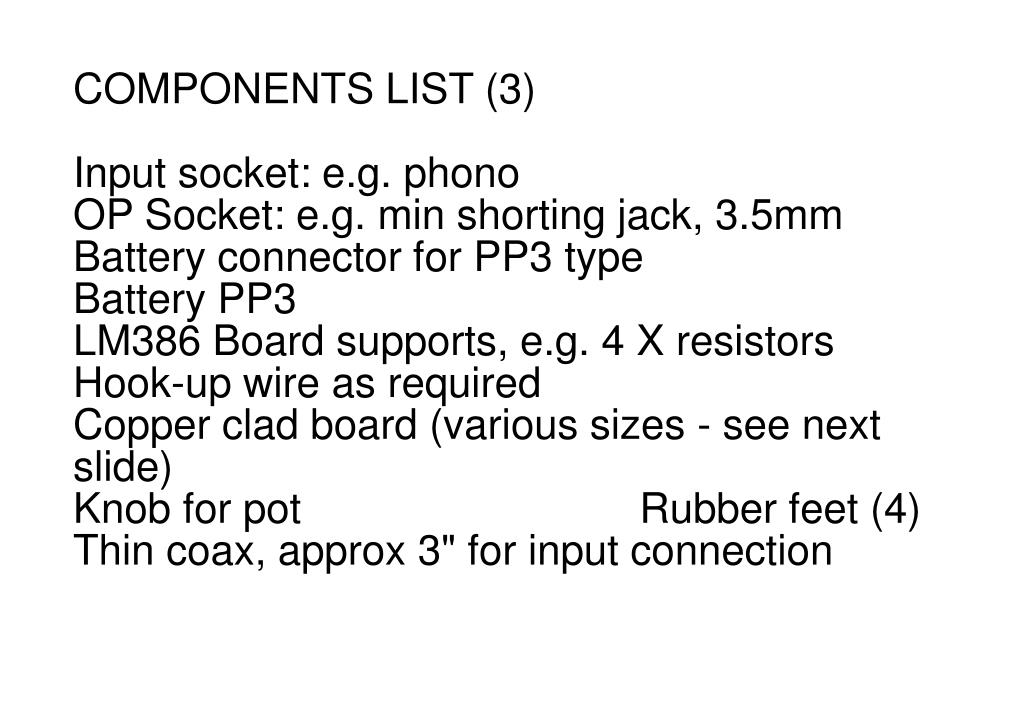 COMPONENTS LIST (3)