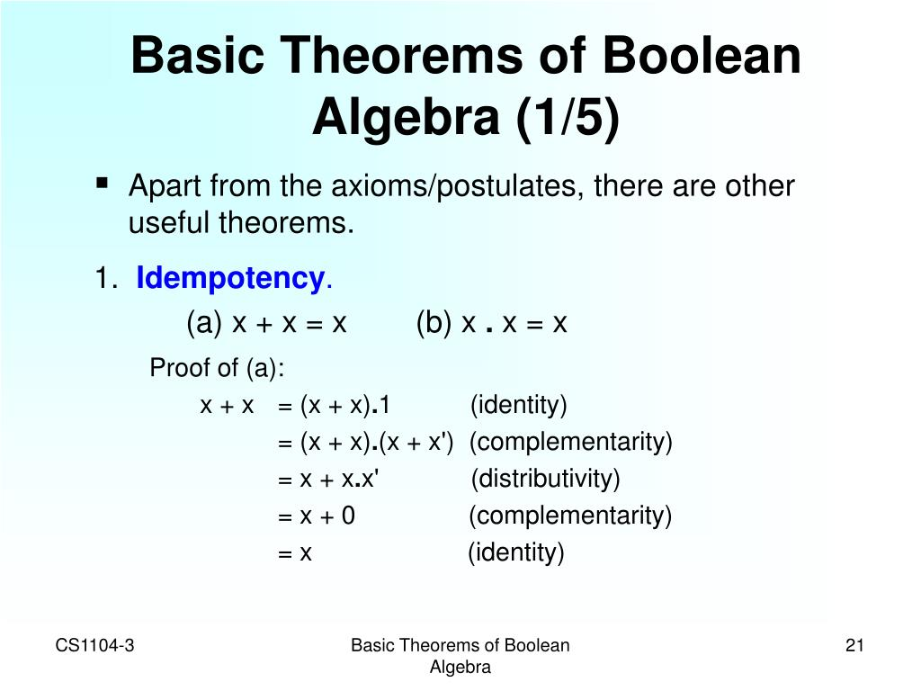 Basic Theorems of Boolean Algebra (1/5)