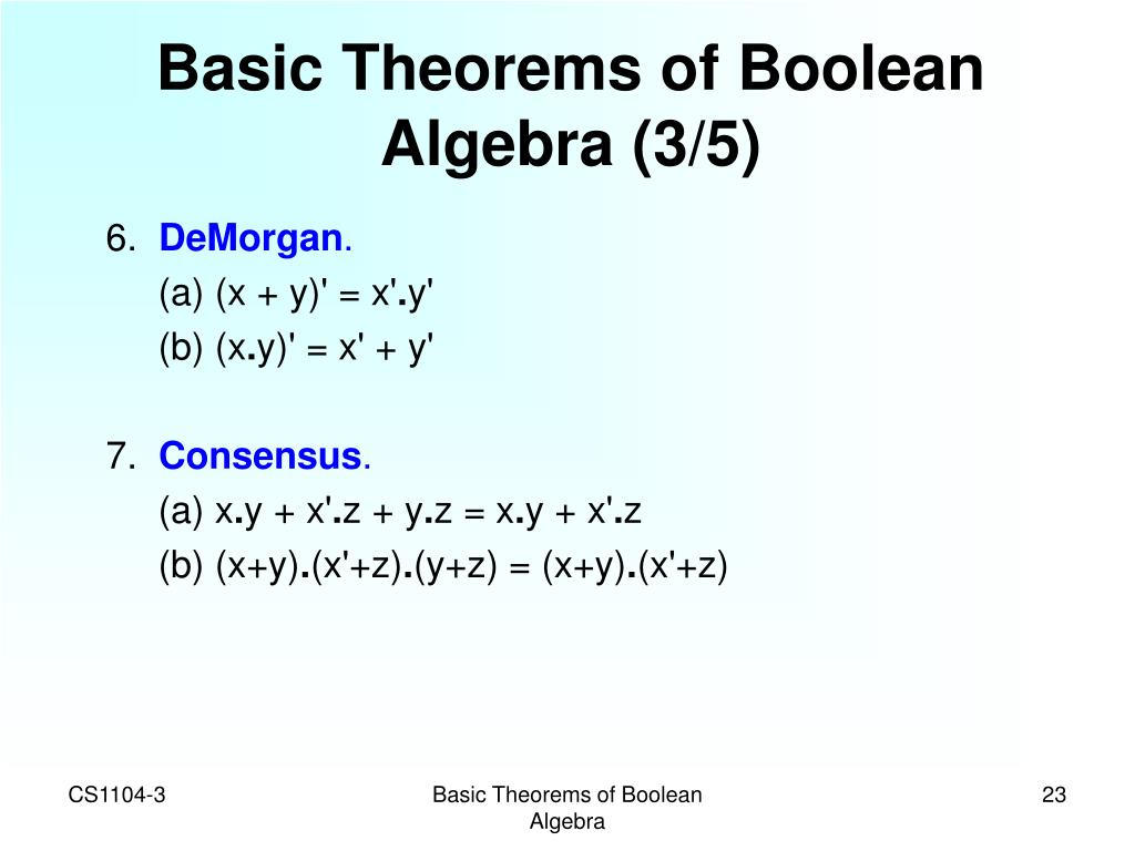 Basic Theorems of Boolean Algebra (3/5)