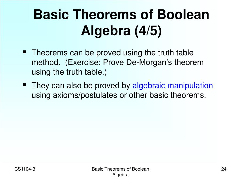 Basic Theorems of Boolean Algebra (4/5)