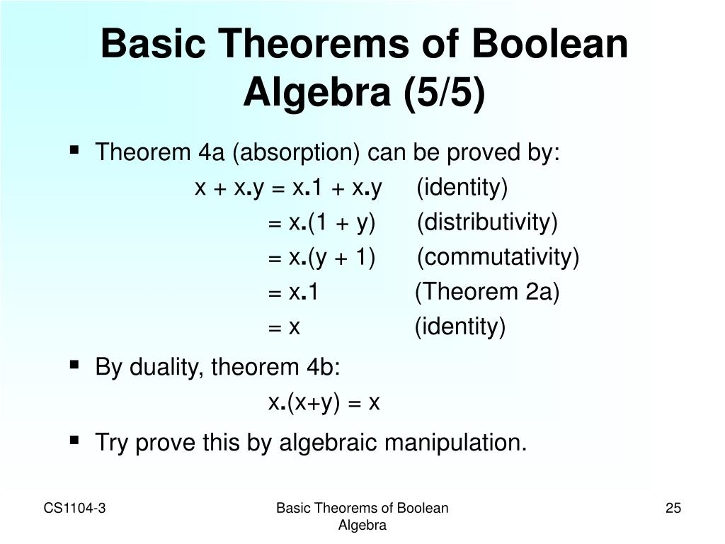 Basic Theorems of Boolean Algebra (5/5)