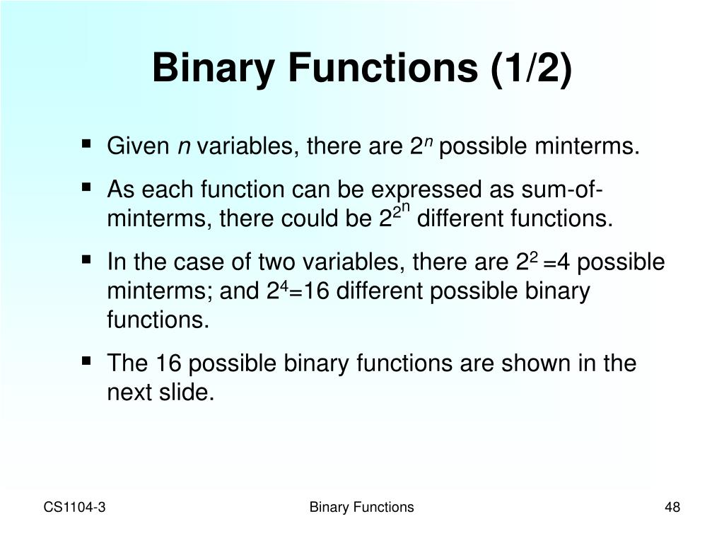 Binary Functions (1/2)