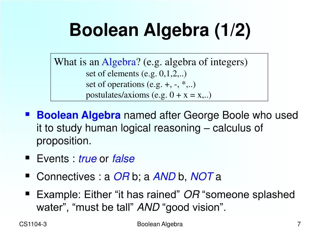 Boolean Algebra (1/2)