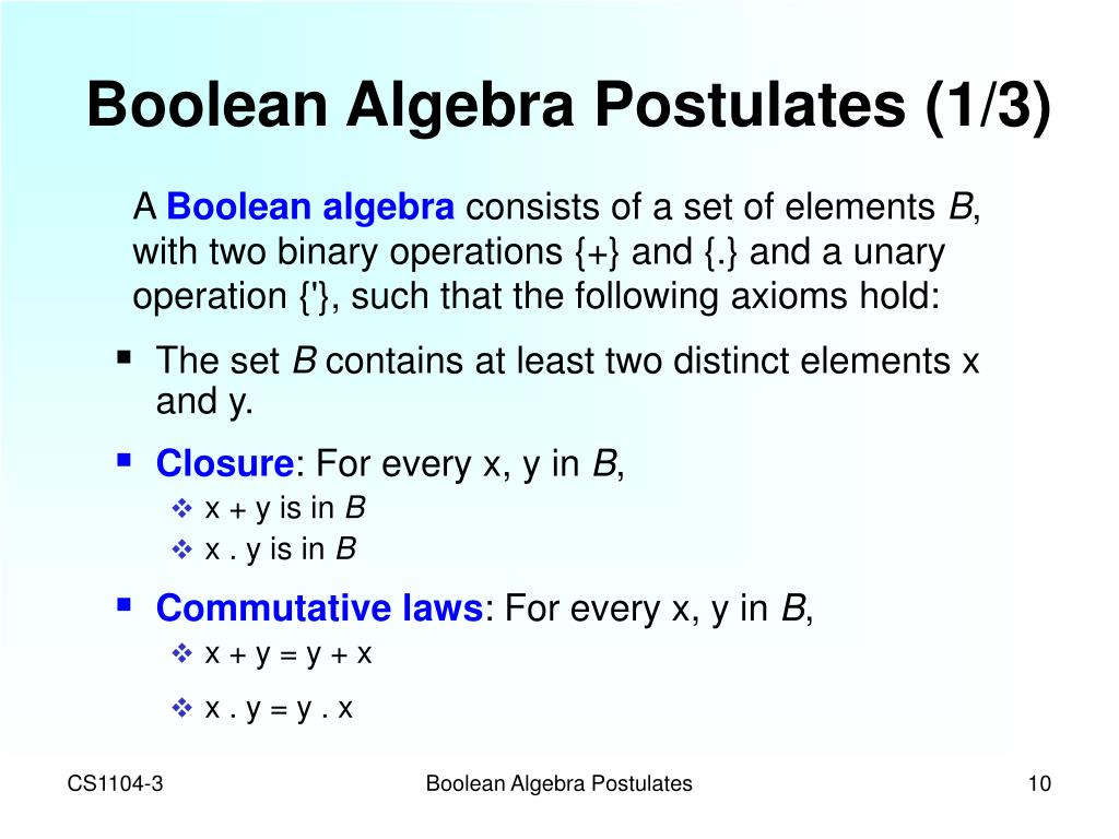 Boolean Algebra Postulates (1/3)