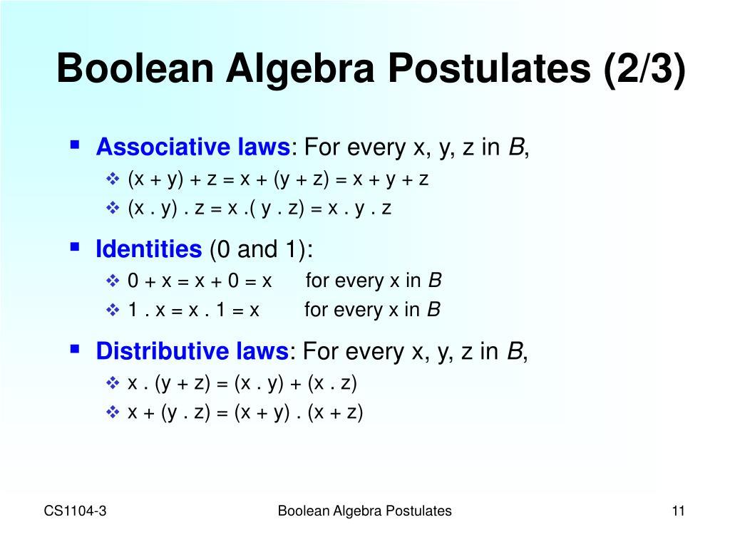 Boolean Algebra Postulates (2/3)
