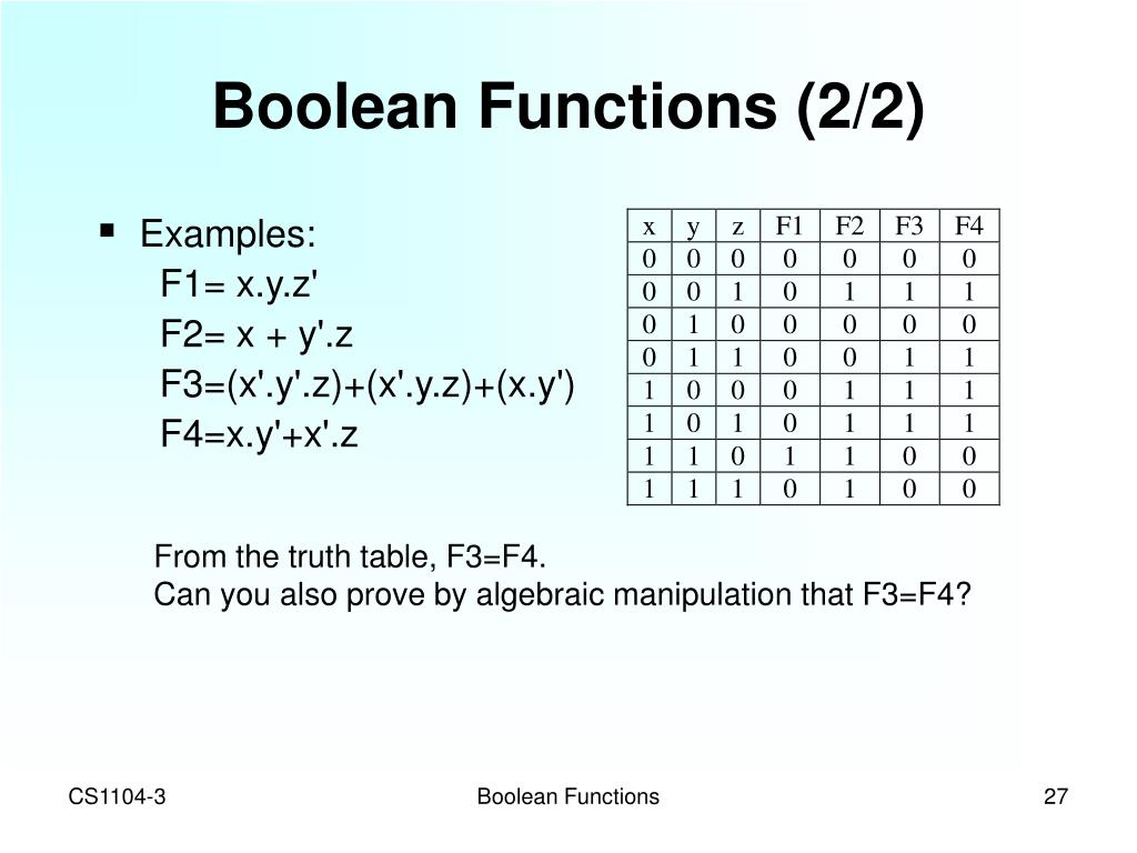 Boolean Functions (2/2)