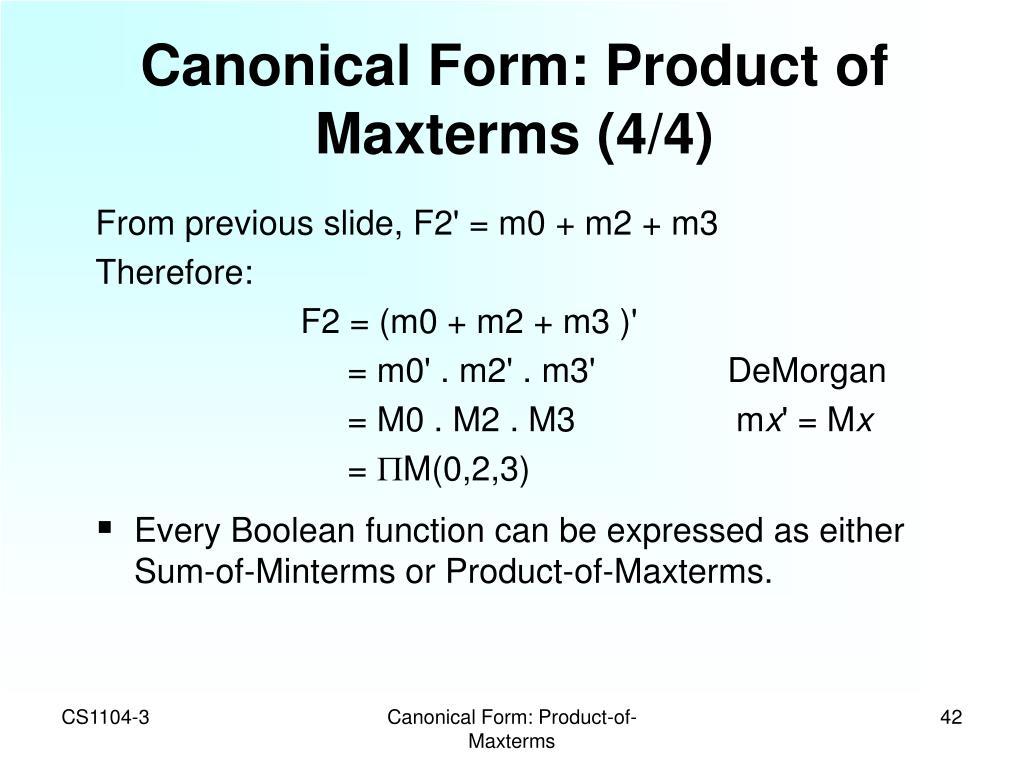 Canonical Form: Product of Maxterms (4/4)