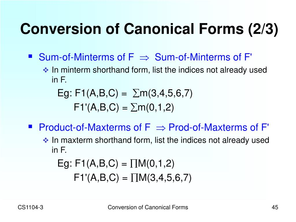 Conversion of Canonical Forms (2/3)