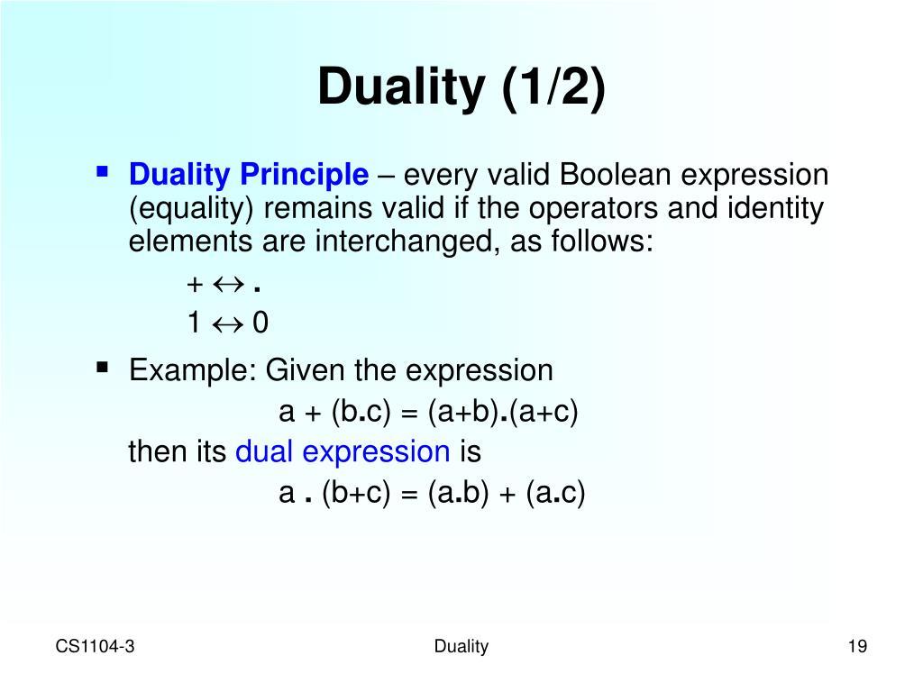 Duality (1/2)