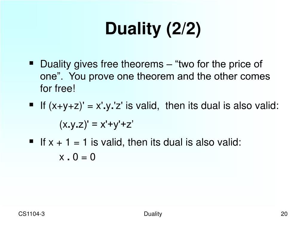Duality (2/2)