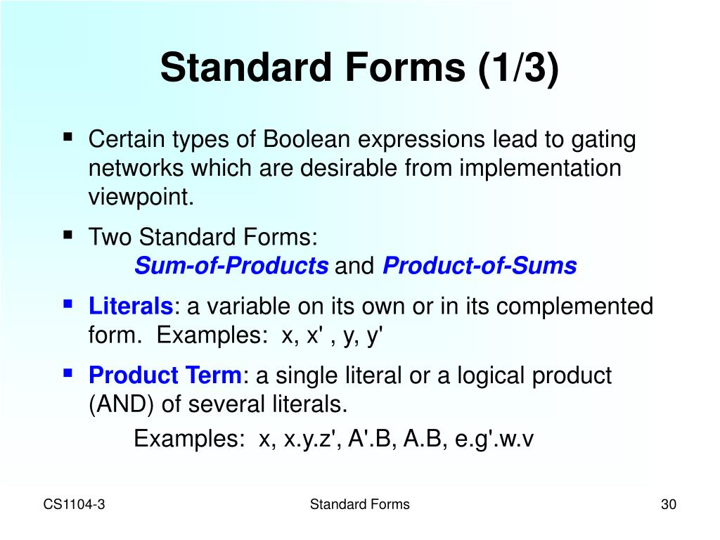 Standard Forms (1/3)