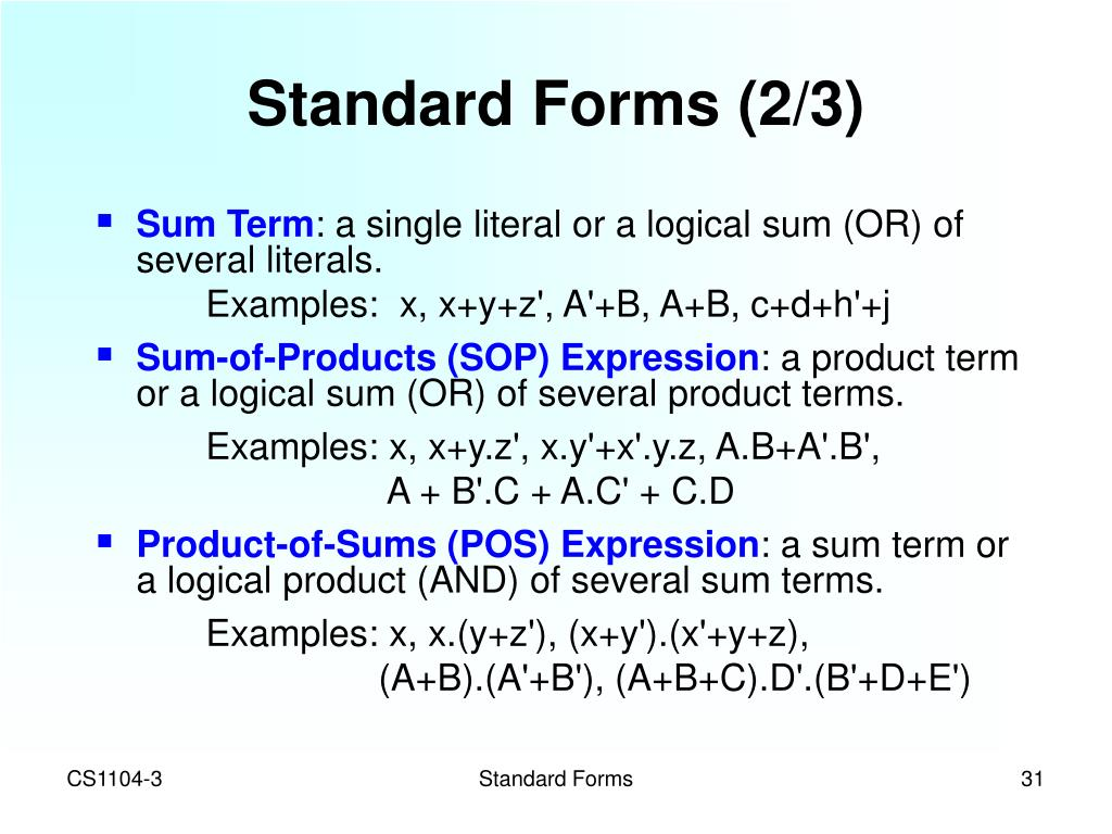 Standard Forms (2/3)