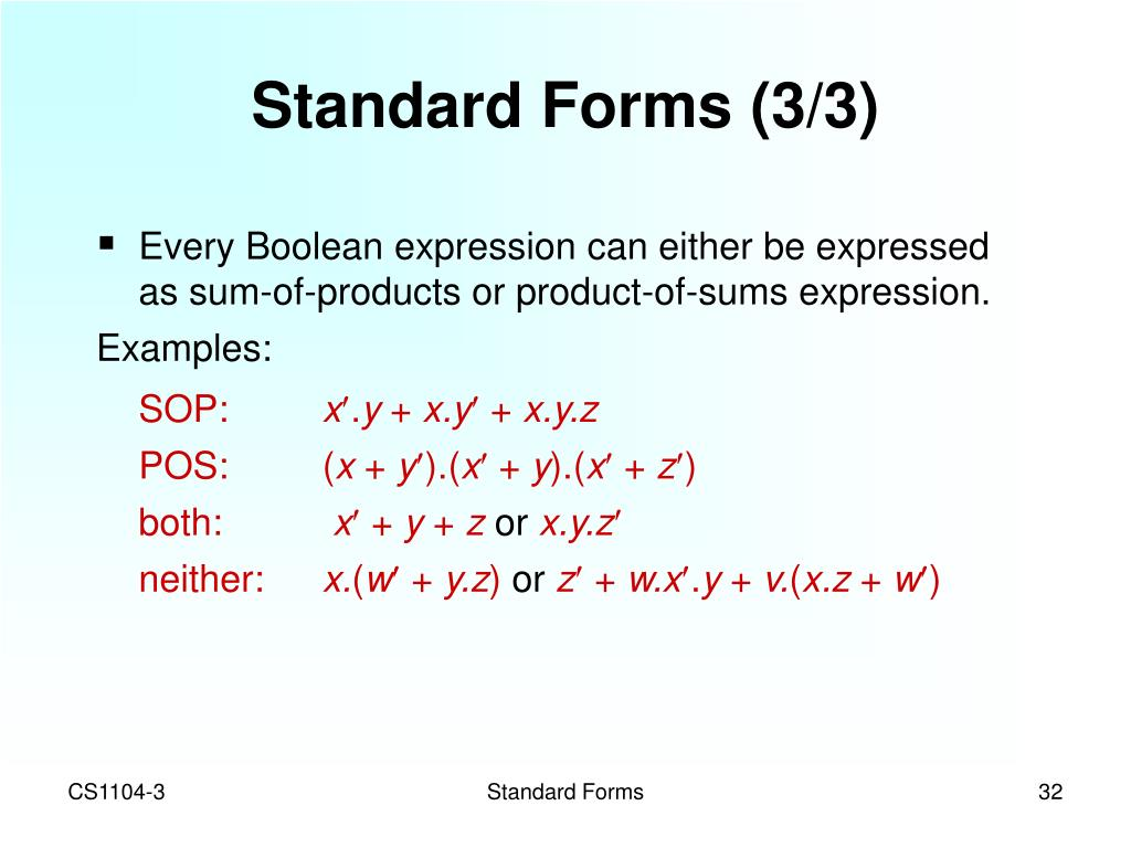 Standard Forms (3/3)