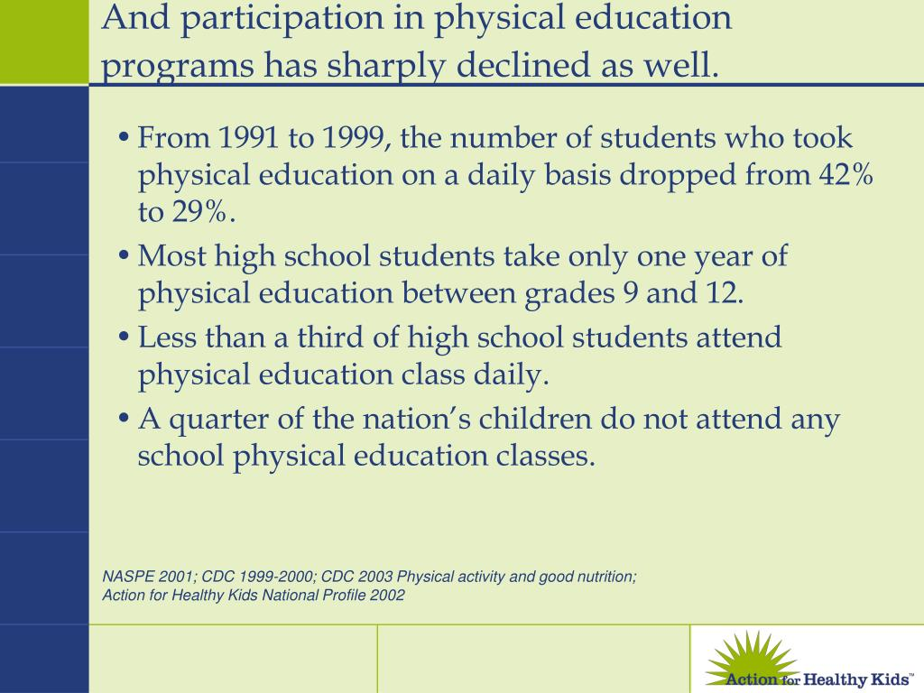 And participation in physical education programs has sharply declined as well.
