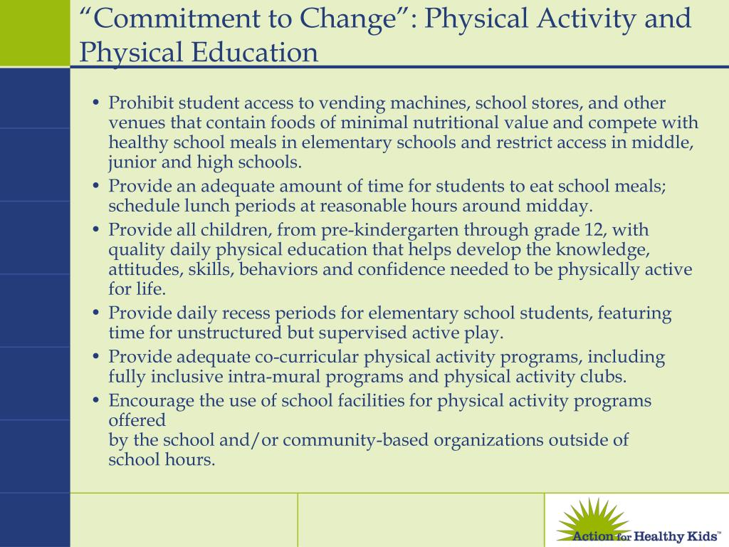 """Commitment to Change"": Physical Activity and Physical Education"