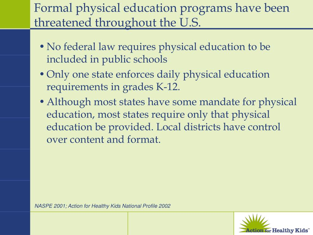 Formal physical education programs have been threatened throughout the U.S.