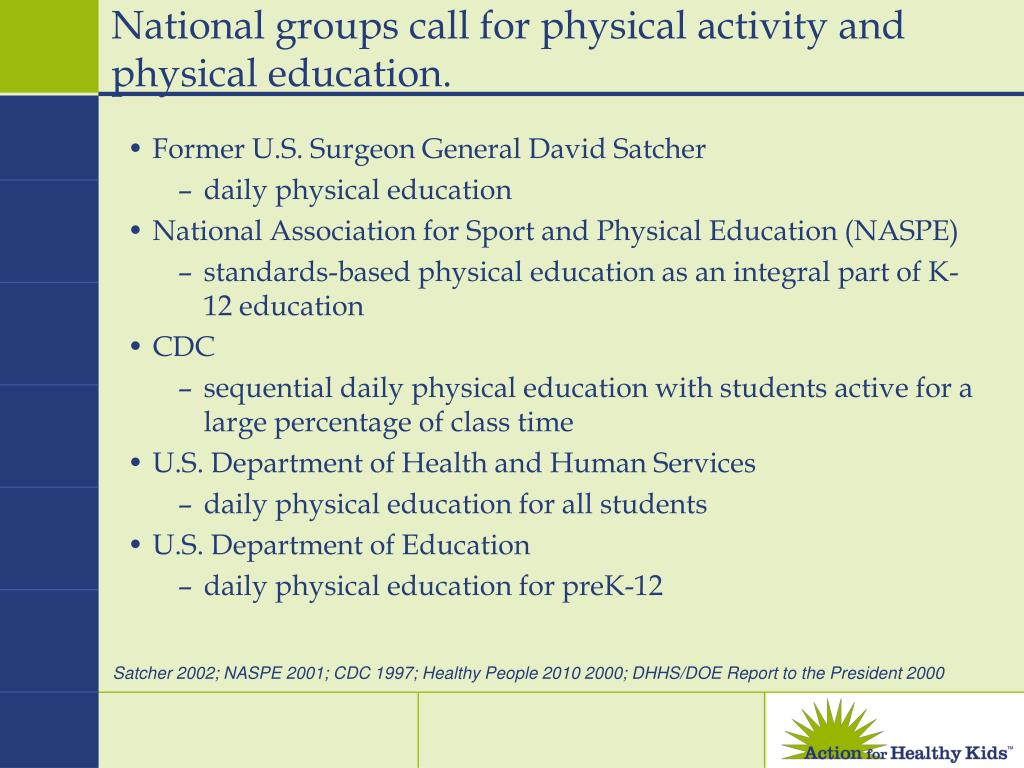 National groups call for physical activity and physical education.