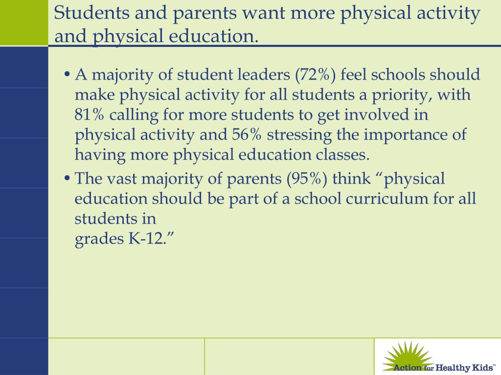Students and parents want more physical activity and physical education.