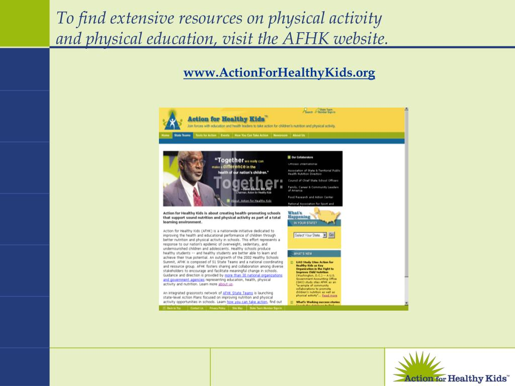 To find extensive resources on physical activity