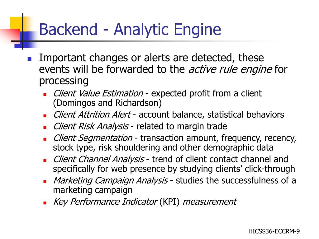 Backend - Analytic Engine