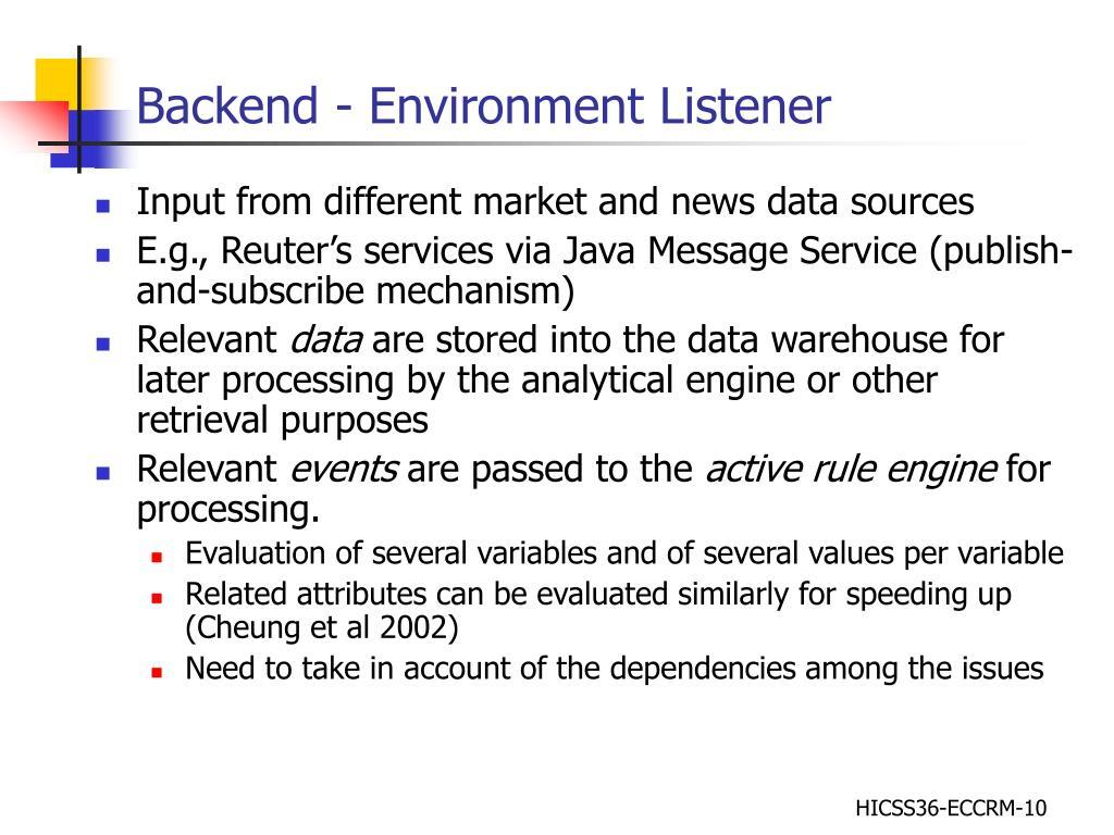 Backend - Environment Listener
