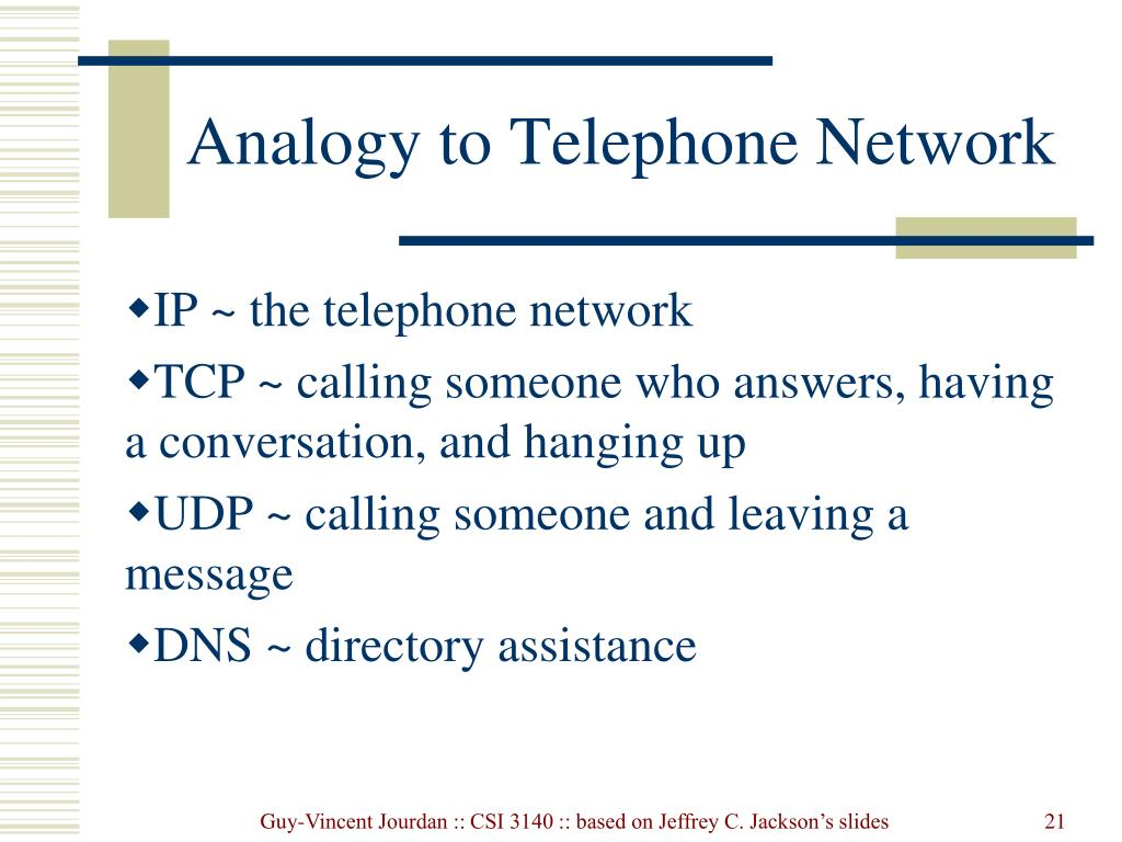 Analogy to Telephone Network