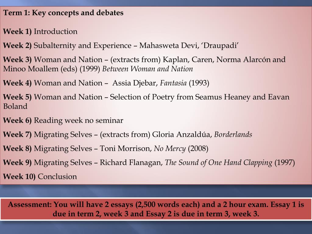 Term 1: Key concepts and debates