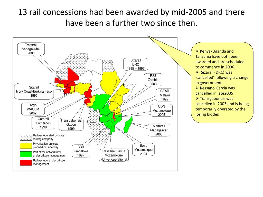 13 rail concessions had been awarded by mid-2005 and there have been a further two since then.