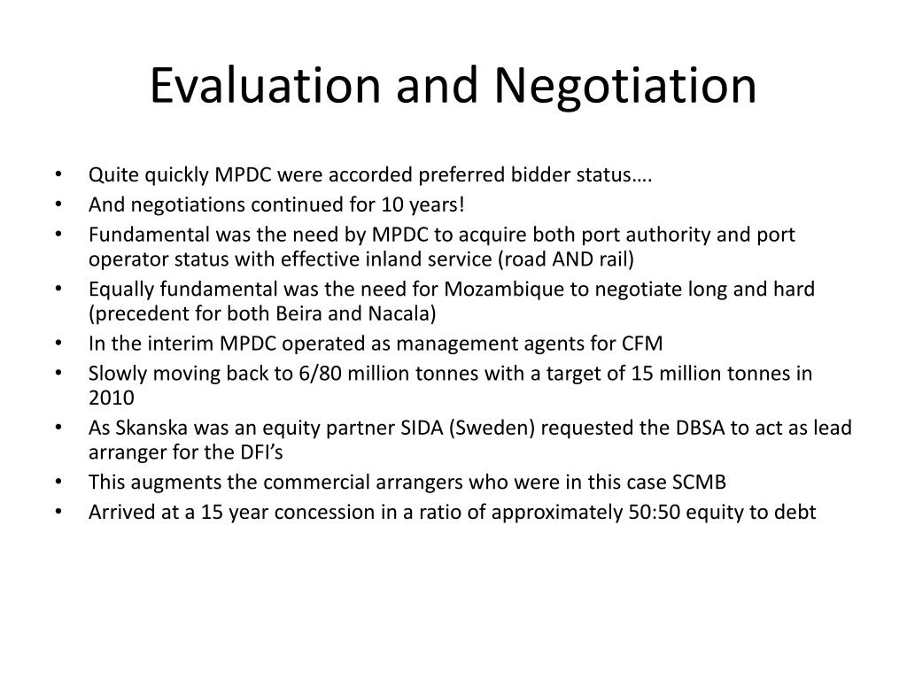 Evaluation and Negotiation