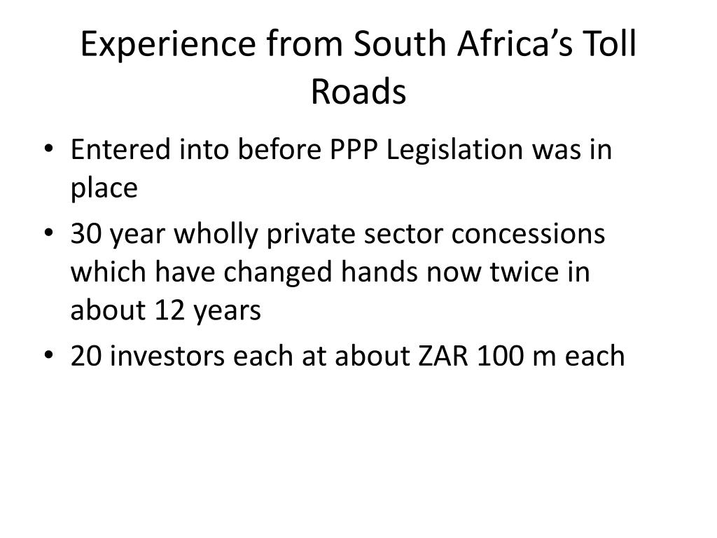 Experience from South Africa's Toll Roads