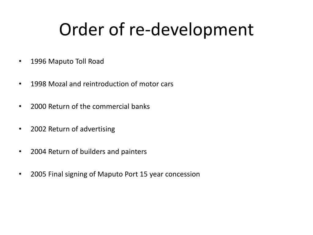Order of re-development
