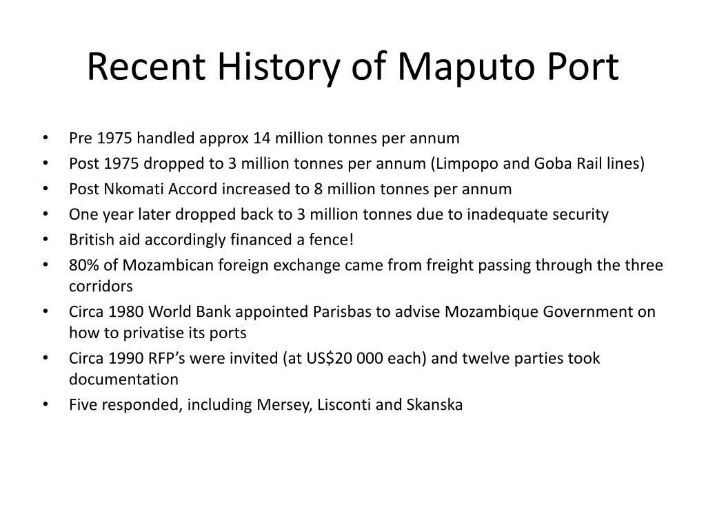 Recent History of Maputo Port