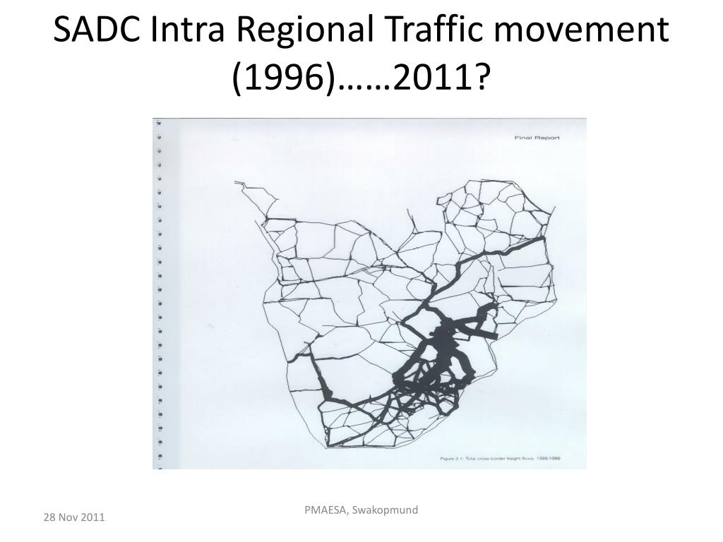 SADC Intra Regional Traffic movement (1996)……2011?