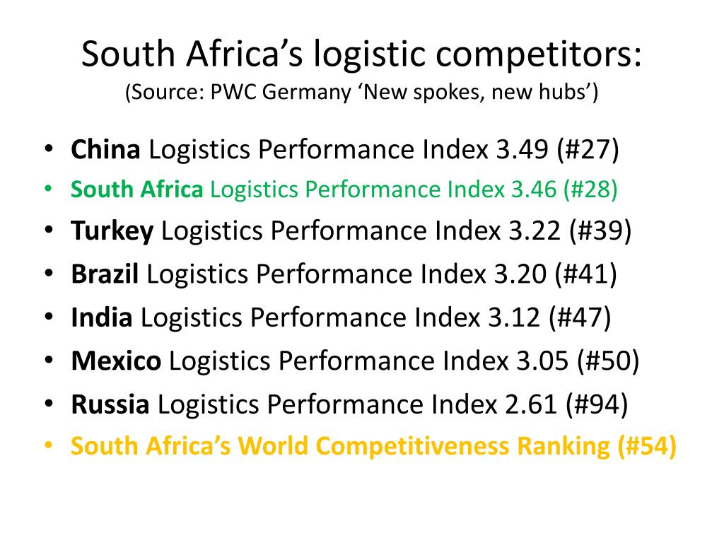 South Africa's logistic competitors: