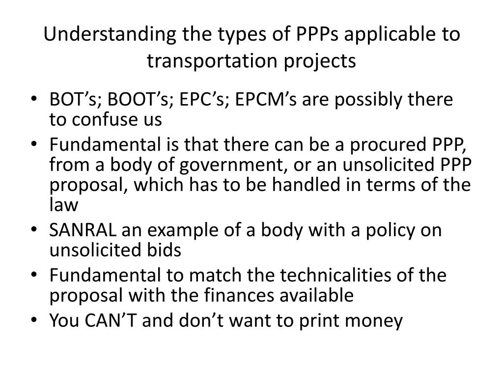 Understanding the types of PPPs applicable to