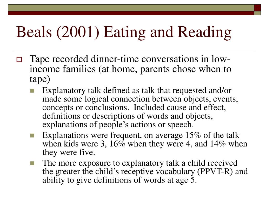 Beals (2001) Eating and Reading