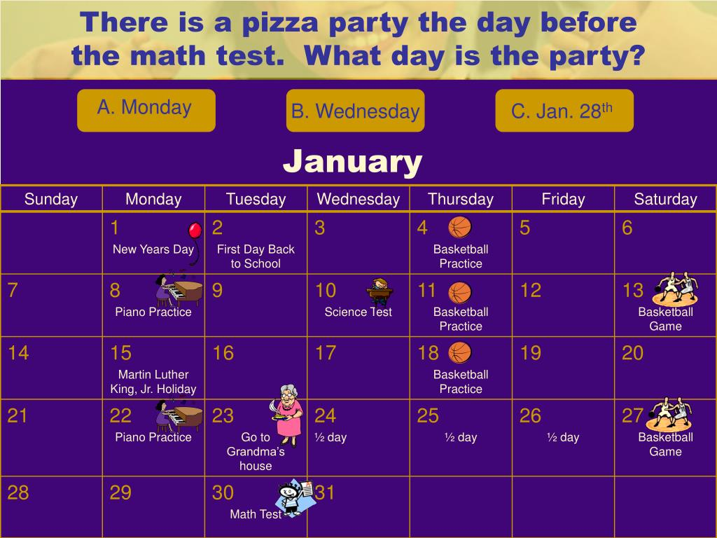 There is a pizza party the day before