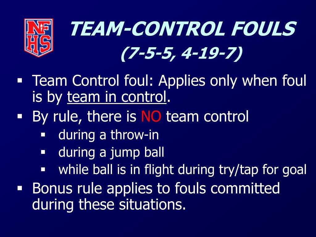 TEAM-CONTROL FOULS