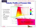 velocity profile at pressure side off design
