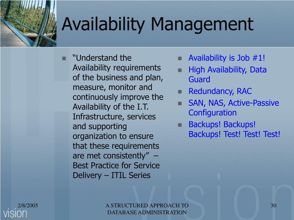 """""""Understand the Availability requirements of the business and plan, measure, monitor and continuously improve the Availability of the I.T. Infrastructure, services and supporting organization to ensure that these requirements are met consistently""""  – Best Practice for Service Delivery – ITIL Series"""